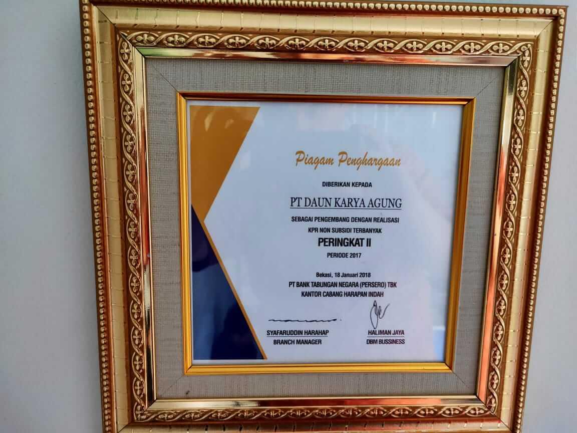Penghargaan Daun Karya Property dari Bank BTN